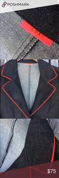 "LUX Dark Grey w Red Trim Cotton Stretch Blazer Med Gorgeous red trim super cool Blazer. Slightly stretchy. Near mint condition ! Almost never worn. It's unfortunately too big for me. I'm 5'8"" 126 lbs - the length is fine by the width and shoulders are a bit big. Lux Tops"