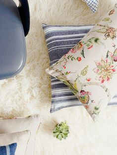 Floral and striped pillows