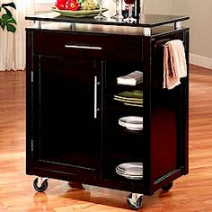 microwave stands with storage | Modern Style Kitchen Cart With Storage Cabinet And Drawer Shelves In ...