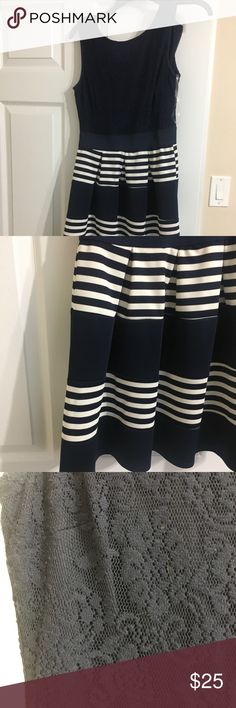 Navy Sailor Dress. || HOST PICK 🎉 Lace top. Navy and white striped flowy skirt. Super cute. NWOT. I never wore but to try on. Loved it but didn't have an occasion to wear it to. Pet/Smoke free home. dillards Dresses Mini