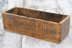vintage Lakeshire cheese box, antique primitive wooden box w/ Wisconsin cheese advertising