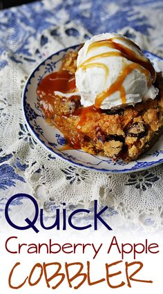 Quick Cranberry Apple Cobbler - an AMAZING doctored up cake mix that is to DIE FOR! Absolutely delicious!