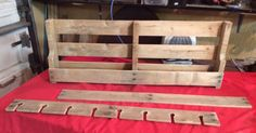 Cut pallet to size, remove a few extra slats on for the top shelf, another for the wine glass holder, and another (not shown here) cut to size, to create a bott…