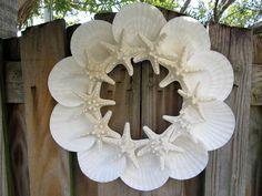 Beach Decor Sunny Day Seashell and Starfish Wreath via Etsy by deena: Seashell Crafts, Beach Crafts, Diy Crafts, Beach Christmas, Christmas Crafts, Coastal Christmas, Starfish Wreath, Beach Wreaths, Summer Party Decorations