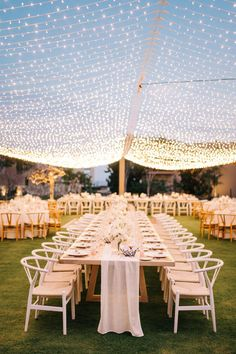 "From the editorial ""A Cabo Wedding Complete With a Veuve Clicquot Champagne Truck and Surprise Firework Show!"" This couple worked with their venue's chef to create a four-course tasting menu that embraced Mexican culture and gave tribute to their destination: Modern Mexican Cuisine. You can find more reception images (including these dreamy string lights) in the full gallery on SMP! Photography: @seancookweddings #cabowedding #outdoorwedding #weddingstringlights #weddingdecor…"