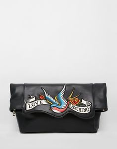 Love+Moschino+Clutch+with+Swallow+Bird+Print