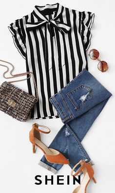 Such a sweet idea to combine stripes with an accent shoe! - Such a sweet idea to combine stripes with an accent shoe! Trend Fashion, Look Fashion, Fashion Outfits, Womens Fashion, Jeans Fashion, Fashion Kids, Autumn Fashion, Mode Jeans, Neue Outfits