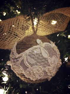 Rustic glam Christmas ornament, twine and vintage lace <3
