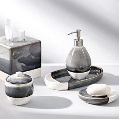 Grey Baths, Stainless Steel Tubing, Chic Bathrooms, Grey Glass, Fine Linens, Bath Rugs, Bath Accessories, Natural Texture, Kitchen And Bath