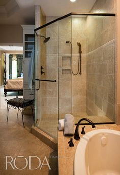 Neo Angle Shower With Tiled Half Walls Bathroom Ideas