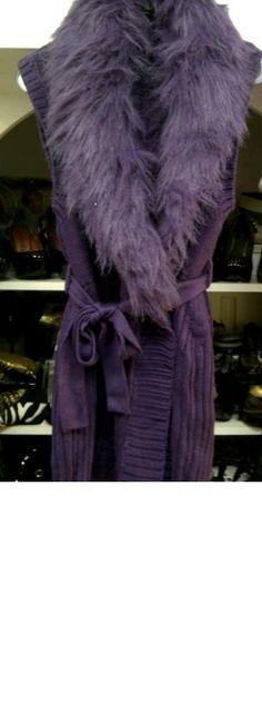 Regal Purple Sweater Vest with Detachable Faux Fur Collar...SMLXL...$129.99!!!  www.petuniasofnaples.com  239-403-3550