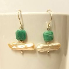 Amazonite & Freshwater Biwa Pearl Sterling Silver Earrings - Gift for Her - Beach Vacation Jewelry by DivineDragonDesigns on Etsy