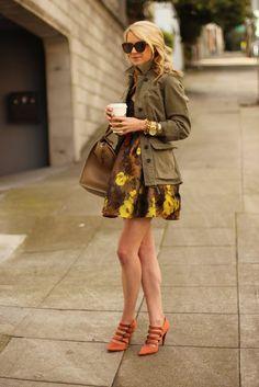 military style jacket, dress