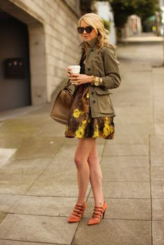military jacket / pretty dress / delicate heels
