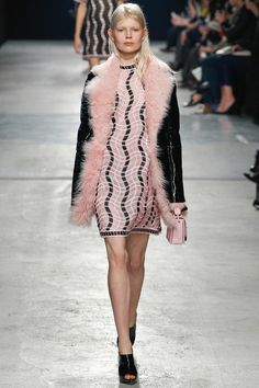 Christopher Kane 2014 fall pastel pink fur as collar and front inside contrasting with black outside