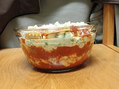 Microwave Lasagna. I took this simple recipe and used it when I was in the dorm. It takes a little while in the microwave, but it is worth it!