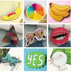 2016 Cartoon acrylic banana Badge Shirt Collar Pin Brooch Lovely fruit cute cartoon  Lapel Pin brooch party Garment accessories