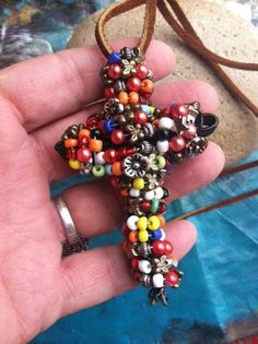 Large Wire Wrapped Beaded CROSS Necklace / Boho Hippie by dgierat