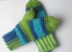 Striped Crochet Mittens