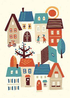 裏通りにて_suzuki tomoko Bg Design, Design Elements, Batman Poster, Scandinavian Folk Art, House Illustration, Fabric Painting, Art Pictures, Illustrations Posters, Contemporary Art