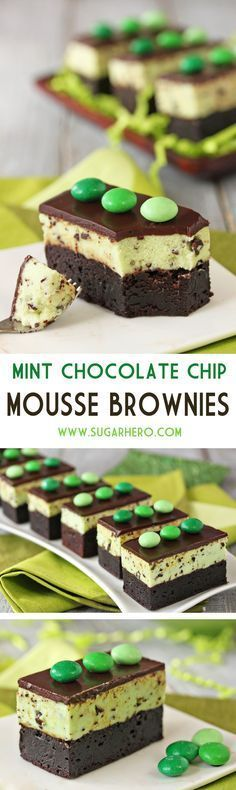 Mint Chocolate Chip Mousse Brownies - fudgy brownies, topped…