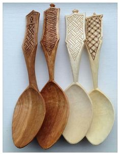Four wooden spoons carved by Simon Hill