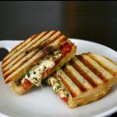 Fresh mozzarella, tomatoes, pesto and balsamic make this the perfect Springtime panini.