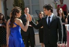 """Miss Mystic Falls"" - Nina Dobrev as Elena, Ian Somerhalder as Damon in THE VAMPIRE DIARIES on The CW. Photo: Bob Mahoney/The CW ©2010 The CW Network, LLC. All Rights Reserved."