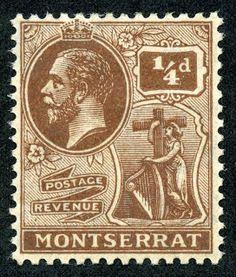 "Montserrat  1922 Scott 54 1/2p brown ""King George V"", wmk 4"