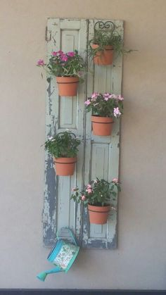 On A Budget DIY Projects Pallet Garden Design Ideas - Gardening - Pallet Plant Wall, Plant Decor, Patio Door Coverings, Shutter Decor, Balkon Design, Plant Shelves, Small Space Gardening, Patio Doors, Diy On A Budget