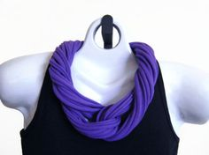 PURPLE FABRIC Necklace Tshirt Scarf Recycled by DesertMoonApparel, $10.00