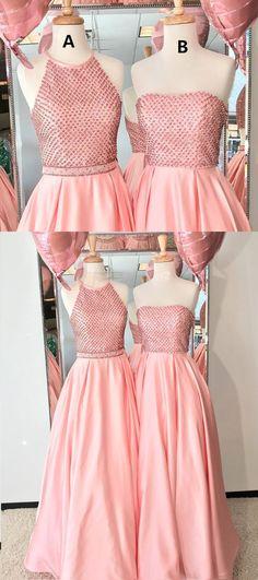 Pink satin strapless long beaded prom dress, pink evening dress #prom #dress #prom #dress