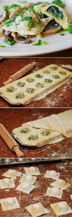 Ravioli with goat cheese and spinach filling in Parmesan cream sauce with mushrooms. Homemade from scratch, using a handy ravioli mold: detailed photo tutorial. | Italian pasta, savory dishes, dinner recipes, dinner ideas