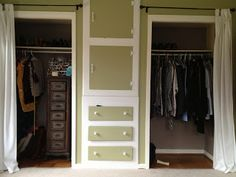 His-and-hers closets with curtains to replace metal sliding doors and drawers in the middle to get rid of dresser!