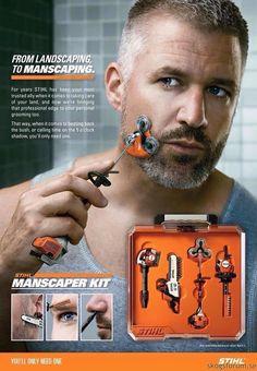 Landscaping to manscaping with the Stihl Manscaper Kit. Shut up and take my money.if only it were real! Take My Money, Things To Buy, Stuff To Buy, Manly Things, Men's Grooming, Shaving, Inventions, Funny Pictures, Funny Pics