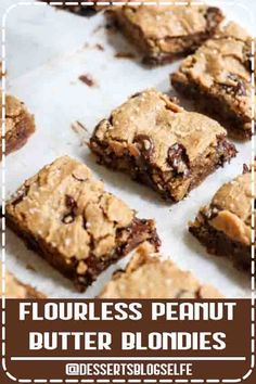 4.8 ★★★★★ - These are the BEST Peanut Butter Blondies! I love that you only need 5 ingredients to make them. (Or 6 if you add in the dark chocolate chips-- which I recommend!) This flourless dessert is sweetened with honey, but you can use maple syrup or coconut sugar, plus a flax or chia egg to make them vegan friendly. My kids love this healthy dessert! #peanutbutter #healthy #dessert #easy #DessertsBlogSelfe #HealthyDesserts  #videos