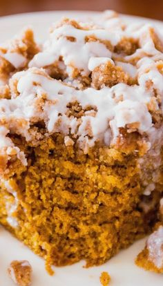 Iced Pumpkin Coffee Cake ~ super moist, bursting with fall spices, and easy to make!