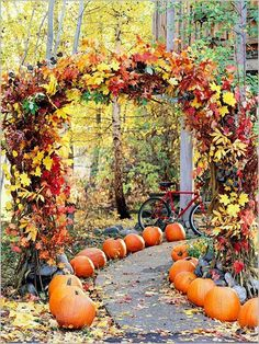 #autumn #fall #wedding ideas & inspiration, beautiful pumpkin and foliage lined pathway  Lots more autumnal wedding ideas curated by Hip Hip Hooray blog http://www.hiphiphooray.com/blog/post/autumn-wedding-ideas-and-inspiration/