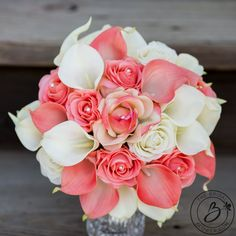 Coral and ivory wedding bouquet roses and calla lilies, 9″ – Real touch wedding bouquets handcrafted by The Bridal Flower
