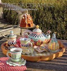MacKenzie-Childs - Taylor Ceramics Style idea for my Odd Fellows teapot, mugs, and honey pot!