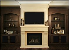 Traditional yet modern, the Small Verona fireplace surround brings together the best of both worlds. The Small Verona's brilliant over mantel is built to accommodate a modern flat-screen TV Tv Over Fireplace, Fireplace Built Ins, White Fireplace, Bookshelves Built In, Wood Fireplace, Fireplace Surrounds, Fireplace Design, Fireplace Mantels, Mantels Decor