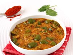 Capsicum Masala Curry - Stir fried Capsicum in Spicy Masala Gravy of Onion and Peanuts - Perfect to Serve with Steamed Rice, Kulcha, Paratah or Roti in Lunch/Dinner - Step by Step Recipe
