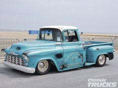 1955 Chevy pickup truck at the Annual Cruisin Ocean City 1959 Chevy Truck, Chevy Pickup Trucks, Chevy Pickups, Chevrolet Trucks, Gmc Trucks, Ocean City, Cool Trucks, Cool Cars, New Balance Herren Sneaker