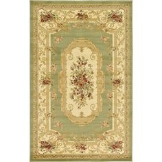 Traditional Versailles Green 5 ft. x 8 ft. Area Rug