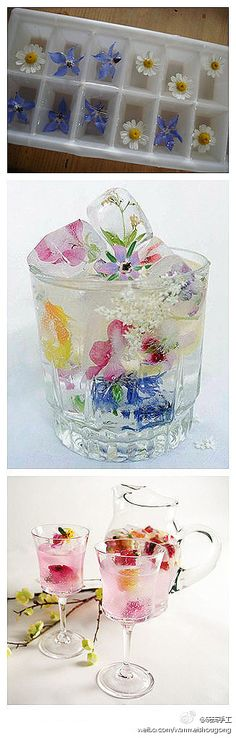 Edible flowers in ice cubes...pretty! Maybe do with lavender, and use lavender flavored water for the ice to flavor the drink?