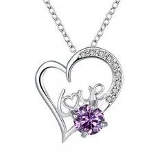 Dresslink - Dresslink Ms popular romantic quality chain lock heart-shaped glass pendant necklace - AdoreWe.com