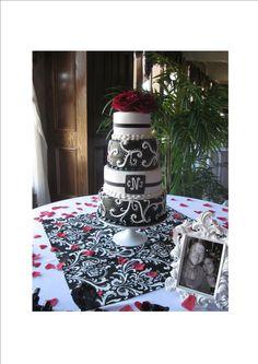 Black & White Wedding cake...cute but i wonder how the black would taste?