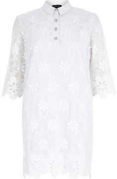 $130, White Floral Lace Shift Dress by River Island. Sold by River Island. Click for more info: http://lookastic.com/women/shop_items/135057/redirect