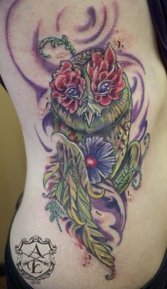 Earth Owl Rib Tattoo done by Sean Ambrose by seanspoison on DeviantArt