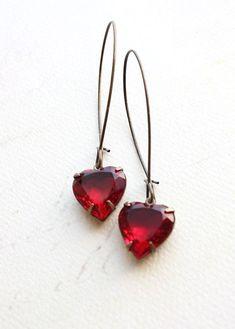Heart Earrings Red Rhinestone Earrings Ruby Red Vintage Glass Drop Earrings Romantic Valentines Jewelry Long Earrings Dangle Earrings on Etsy, $24.00